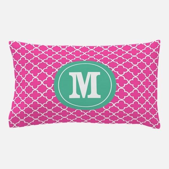 Pink Green Quatrefoil Monogram Pillow Case