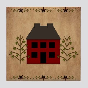 Primitive House Tile Coaster