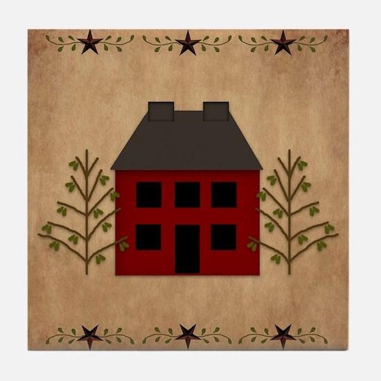 Primitive House Tile Coaster