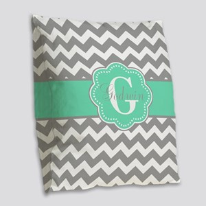Gray Mint Green Chevron Monogram Burlap Throw Pill