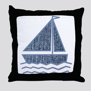 Little jeans sailboat Throw Pillow