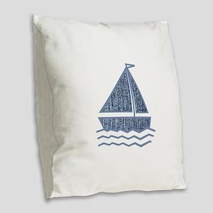 Little jeans sailboat Burlap Throw Pillow