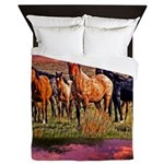 Sunset Horses Queen Duvet