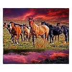 Sunset Horses King Duvet