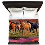 Sunset Horses King Duvet
