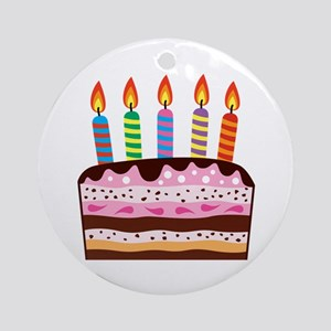 Birthday Cake Food Dessert Ornament (Round)