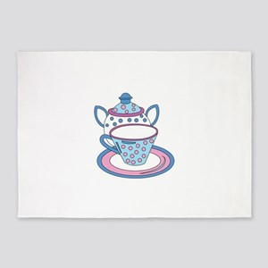 Teacup Teapot Drink 5'x7'Area Rug