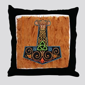 Thors Hammer in color Throw Pillow