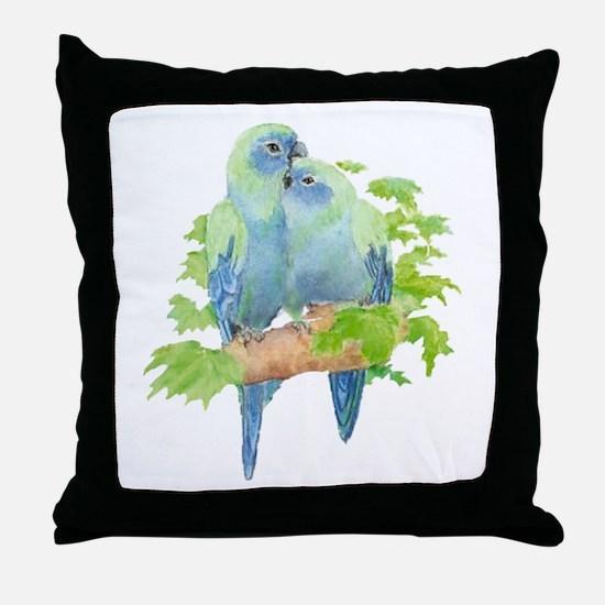 Cute Cuddling Watercolor Blue Parrots Throw Pillow