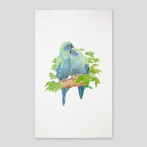 Cute Cuddling Watercolor Blue Parrots 3'x5' Area R
