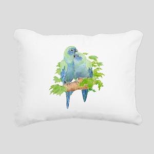 Cute Cuddling Watercolor Blue Parrots Rectangular