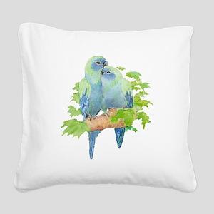 Cute Cuddling Watercolor Blue Parrots Square Canva