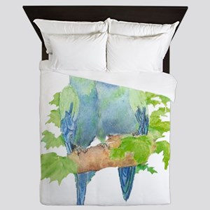 Cute Cuddling Watercolor Blue Parrots Queen Duvet