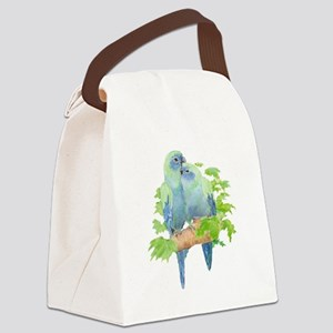 Cute Cuddling Watercolor Blue Parrots Canvas Lunch
