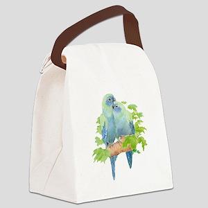 Cute Cuddling Watercolor Blue Parrots Canvas Lunch