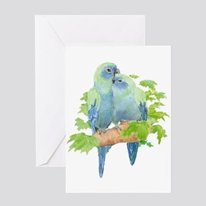 Cute Cuddling Watercolor Blue Parrots Greeting Car