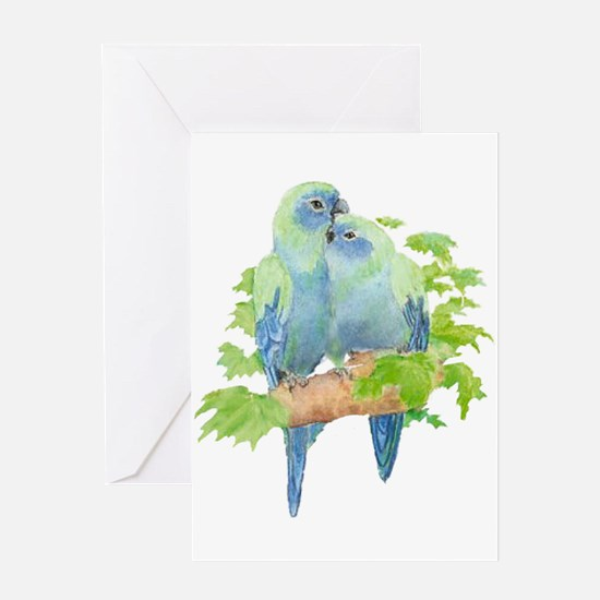 Cute Cuddling Watercolor Blue Parrots Greeting Car