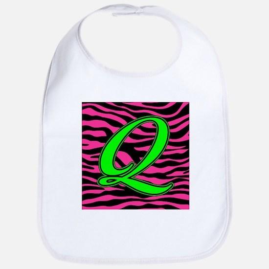 HOT PINK ZEBRA GREEN Q Bib