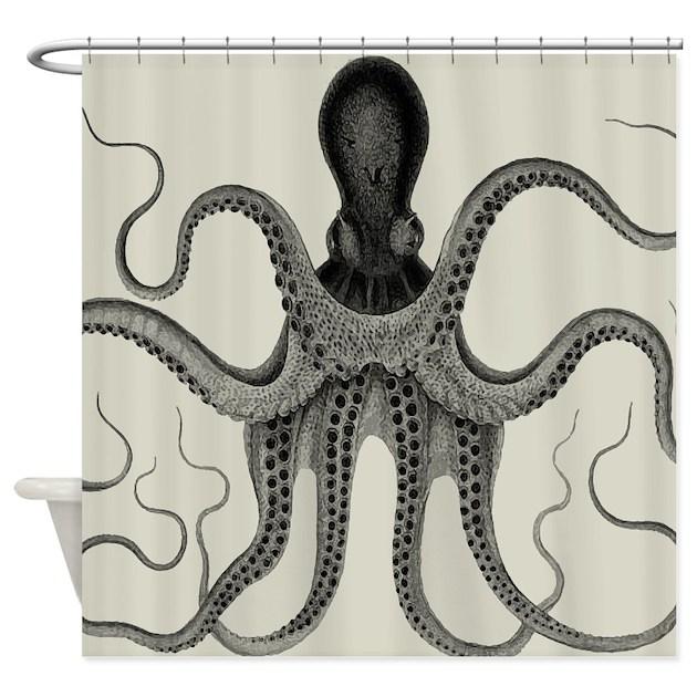 Vintage Octopus Design Shower Curtain By V Ink