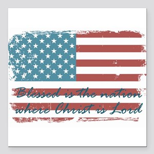 "Blessed Nation Square Car Magnet 3"" x 3"""