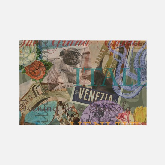 Venice Vintage Trendy Italy Travel Collage Magnets