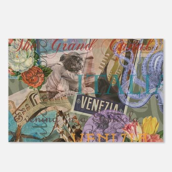 Venice Vintage Trendy Italy Travel Collage Postcar