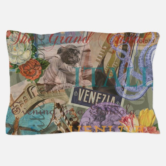 Venice Vintage Trendy Italy Travel Collage Pillow