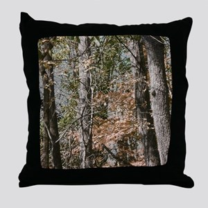 Realistic Tree Forest Camo Throw Pillow