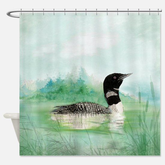Watercolor Common Loon On Lake Bird Shower Curtain