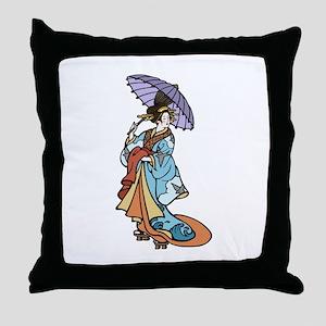 Geisha With Parasol Throw Pillow