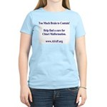 Too Much Brain to Contain Women's Tee (light)