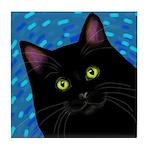 BLACK CAT PORTRAIT Tile Coaster