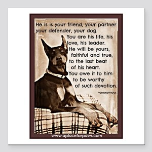"You owe it to him Square Car Magnet 3"" x 3"""