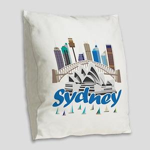 Sydney Skyline Burlap Throw Pillow