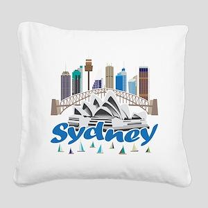 Sydney Skyline Square Canvas Pillow