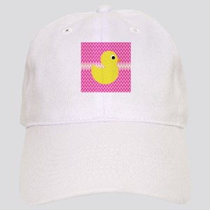 Rubber Duck on Pink Zigzags Baseball Cap