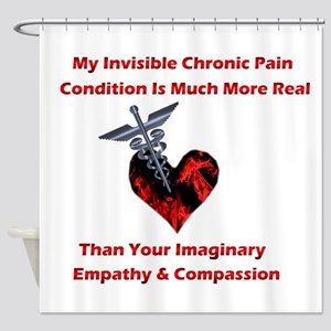Invisible Chronic Pain Red Heart Shower Curtai