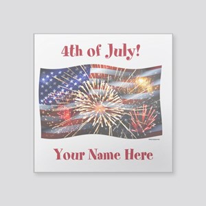 Usa Flag And Fireworks Personalize Sticker