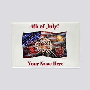 Usa Flag And Fireworks Personalize Magnets
