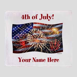Usa Flag And Fireworks Personalize Throw Blanket