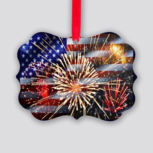 Usa Flag And Fireworks Picture Ornament