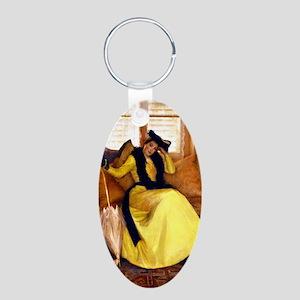 Lady in Yellow - Susan Watk Aluminum Oval Keychain