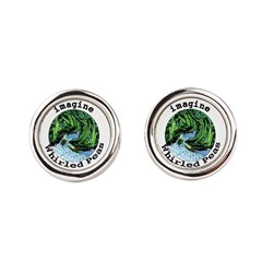 Imagine Whirled Peas Round Cufflinks
