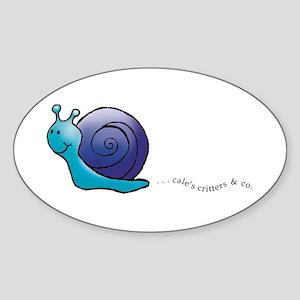 Blue and Purple Snail Oval Sticker
