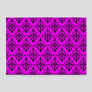 Black & Hot Pink Damask 41 5'x7'Area Rug