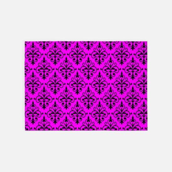 Black & Hot Pink Damask 41 5'x7'Area Rug