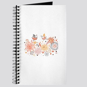 Swirly Floral Bird Flower Vintage Patterns Journal