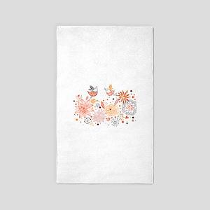 Swirly Floral Bird Flower Vintage Patterns 3'x5' A