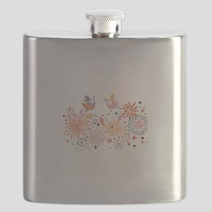 Swirly Floral Bird Flower Vintage Patterns Flask
