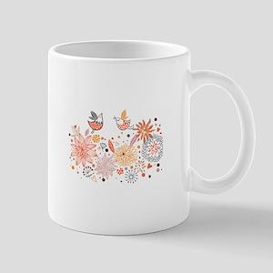 Swirly Floral Bird Flower Vintage Patterns Mugs